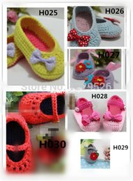 wholesale cotton baby booties Canada - Mix model Crochet Baby Booties for 0-12months baby crochet baby booties 0-12M boys  girls first walkers shoes