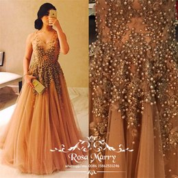 $enCountryForm.capitalKeyWord Australia - Luxury Pearls Vintage Lace Pageant Prom Dresses 2020 A Line V-Neck 3D Floral Plus Size Arabic African Cheap Long Formal Evening Party Gowns