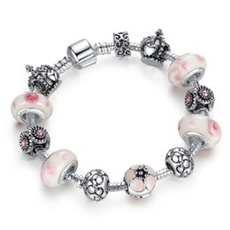 $enCountryForm.capitalKeyWord Canada - Elegant Charm Bracelets with Pink Munrano Glass Beads & Crown Silver Charms New Bangle Bracelets for Women BL079