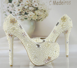 white kitten heel rhinestone shoes NZ - Pearl Rhinestone Bridal Dress Shoes Ivory White Women Formal Dress Shoes Lady Crystal Platform High Heels Bridesmaid Shoes