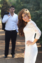 Wedding Dress Sheath Canada - Lace Short Sheath Wedding Dresses High Neck Backless 3 4Long Sleeve Zipper Knee Length Beach Bridal Gown Lace Applique Dress Custom Made