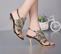 Strappy Open Heels Canada - Stiletto Heel Sandals Strappy Summer Sandals Black Rhinestone Heels Sandals Wedding Bride Shoes Red Silver Prom Party Open Toe