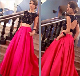 2016 New Design Two Pieces Prom Dresses Cap Sleeves Lace Beaded Top Satin Skirt Floor Length Fuchsia Long Party Evening Gowns BA1630 from new summer tops dresses design manufacturers