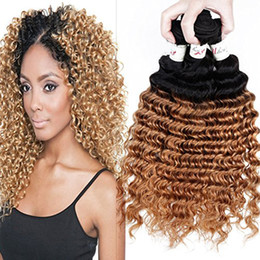 Curly ombre hair brown blonde bundles nz buy new curly ombre brazilian two tone 1b 27 brown blonde ombre deep wave wavy human hair extensions 3pcs lot honey blonde ombre deep curly hair bundles urmus Images