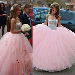 Barato Vestido Com Contas De Rosa-2015 Hot Selling Ball Gown Sweetheart Top Beaded Bodice Long Tulle Beading Quinceanera Vestidos Pink Bling Masquerade Ball Gowns