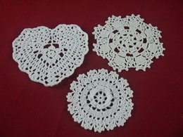 White Cotton Napkins Australia - 100% Crocheted Doilies White 3 Design lace cup mat vase Pad, Round coaster Home Textiles 10-16 cm table mat 30PCS LOT Table Napkin decor