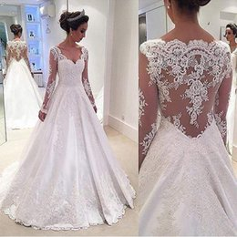 $enCountryForm.capitalKeyWord NZ - Long Sleeve 2017 Ball Gown Wedding Dresses Cheap Lace Bateau Illusion Empire 3D-Floral Appliques Tulle Tiered Skirts Sweep Train Dress
