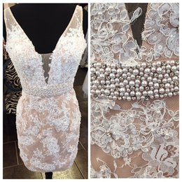 Robe De Retour En Dentelle Plus Taille Pas Cher-Real Image V Neck Lace Homecoming Robes sans manches Perles Beads Belt Sash Short Prom Robe de soirée Custom Made Plus Size Robe de cocktail