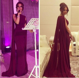 Pakistani sexy Prom online shopping - 2018 New Vintage Sheath Red Carpet Celebrity Dresses with Long Chiffon Cape Wrap Arabic Pakistani Prom Evening Gowns Custom Made