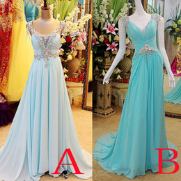 Barato Vestido De Celebridades Azul Claro-Real Imagem Luz Sky Blue Red Chiffon Crystal Prom Dresses para Party Beads Backless noite Celebrity Pageant Vestidos de noite Plus Size 2016