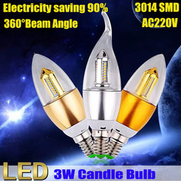 $enCountryForm.capitalKeyWord NZ - New Arrival High Quanlity LED Candle Bulb 3W With Aluminum Shell Silver And Golden Can Choose Warm White Pure White 2Years Warranty