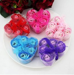 Gift Shaped Soap Canada - 6pcs=1box Colorful Heart-Shaped Rose Soap Flower Handmake Flower Petals Decor For Romantic Bath Gift Wedding favor Valentine's Day Gifts