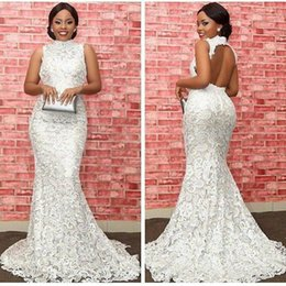 Vestidos De Alta Costura De Coral Baratos-Sexy Keyhole Backless White Lace vestidos de noche Formal Fashion 2018 High Neck Mermaid vestidos formales Celebrity Prom Dress Floor Length Arabic