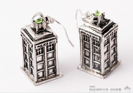 Gift Telephone Canada - 2015 Hot Movies Jewelry Ancient Silver TARDIS Doctor Who telephone booth Earrings Mysterious Infiniti Charm For Men And Women best Gifts