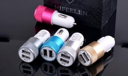 Mini Usb Micro Car Charger Adapter NZ - Universal Colorful Car Phone Mini Charger Round Square Quick Charge Adapter 2.1A 1.0A Micro auto power Adapter Nipple Dual USB 2 Port 300pcs