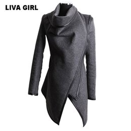 Barato Casaco De Lapis De Mulher S-Venda por atacado- LIVA GIRL Vintage Retro Women's Irregular Collar Lapel Side Zipper Coat Casaco de moda Loose Plus Size Manteau