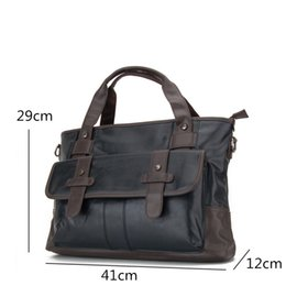 Discount large leather laptop bags New Business Bag Handbag Men Leather Laptop Bag For 13 inch Famous Men Briefcase Travel Crossbody Bags Large Capacity