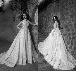 Robe De Mariée En Col De Bateau Perlée Pas Cher-2016 Automne Zuhair Murad Robes de Mariage Bus Neck Sans manches Backless avec Overskirt Chapel Train perlés Robes de Mariée En Dentelle Custom Made