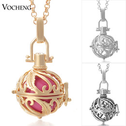 Pregnancy Chime Pendant Canada - VOCHENG Chime Harmony 3 Colors Copper Metal Engelsrufer Pregnancy Ball in Pendants with Stainless Steel Chain VA-027