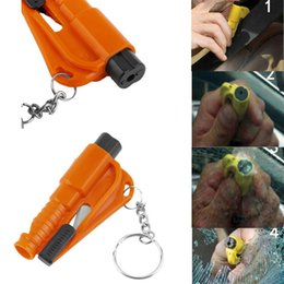 Auto Emergency Tools NZ - 50pcs lot 3 in 1 Emergency Mini Safety Hammer Auto Car Window Glass Breaker Seat Belt Cutter Rescue Hammer Car Life-saving Escape Tool YH009