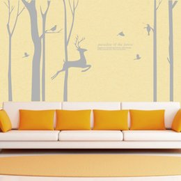 Giant Forest Tree Deer Bird Wall Stickers Vinyl Decals HomeForest Treer Art  Mural DIY