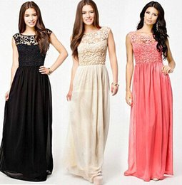 Robe De Soirée Sexy Xl Pas Cher-Femmes Sexy Hollow Lace Backless Chiffon Robes Maxi Ladies Big Pendulum Runway Casual Party Evening Prom Long Dress Femme vêtements