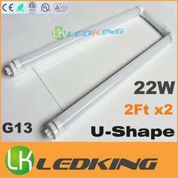 Ce Fluorescent Lighting Canada - U-Shape T8 LED Tube 22W 2FT X2 LED fluorescent lights SMD2835 AC85-265V U Shaped T8 tubes CE FCC ETL SAA UL