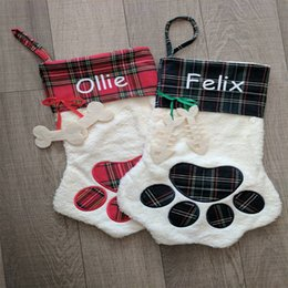 Discount hot dog ornament - 2017 Newest Arrival Hot Selling Sherpa Paw Stocking Dog and Cat Paw Stocking 2 Colors Stock Christmas Gift Bags Decorati