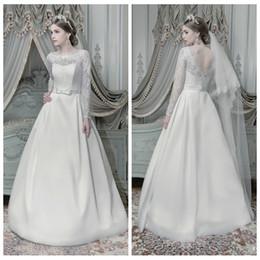 2016 romantic lace long sleeve a line wedding dresses russian fashion royal princess bridal gowns satin sweep formal brides wedding dress
