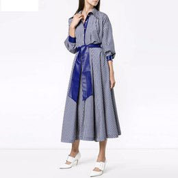 Barato Senhoras Manga Longa Maxi Vestido-Office Work Lady Blue Plaid Shirt Maxi Dresses 2018 Primavera Verão Vintage Collar Long Sleeve Sashes Ankle Length Casual Dresses Plus Size