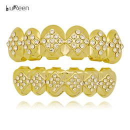 $enCountryForm.capitalKeyWord Canada - LuReen Gold Silver Plated Grillz Shiny Geometric Rhinestone 6 Top and Bottom Grillz Set Hip hop Vampire Teeth Jewelry