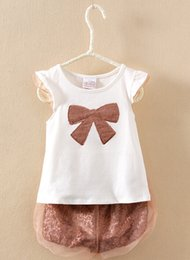 Clothing single pieCes online shopping - Summer girl fashion clothes suit sweet bowknot T shirt short pants pieces sequined kids clothing girls fashion suit sets
