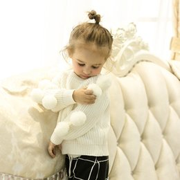 Blusa De Otoño De Primavera Baratos-Everweekend Girls Knitted Balls Sweater Tops Ins Venta caliente Cute Children Fashion Autumn Spring Blusa beige