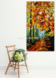 forest canvas print Canada - Palette Knife Painting Red Autumn Forest Mystery Alley Landscape Picture Printed on Canvas for Home Office Hotel Wall Art Decor