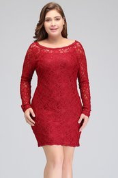 Barato Rendas Vestidos Decotes Colher-New Scoop Neckline Red Lace Short Cocktail Dresses 2018 Long Sleeves Mini Party Vestidos Cheap Cps630