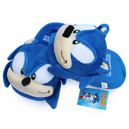 tv slippers UK - Sonic slippers blue Plush Doll 11 inch Adult Plush Sonic Slippers Free Shipping
