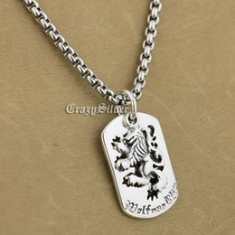 $enCountryForm.capitalKeyWord Canada - 925 Sterling Silver King Lion Dog Tag Biker Pendant 9S020A 316L Stainless Steel Necklace 24 inches