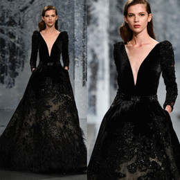 $enCountryForm.capitalKeyWord NZ - Ziad Nakad Black Evening Gown Feather Sequins Beads Velvet Long Sleeve Prom Dresses Long Luxury Formal Dress Evening Wear Party Gown Plus