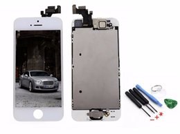 Tools Button Canada - Wholesale-White LCD Display Touch Screen Digitizer For iphone 5 with Frame Assembly + Home button + Front Camera + Tools, Free Shipping