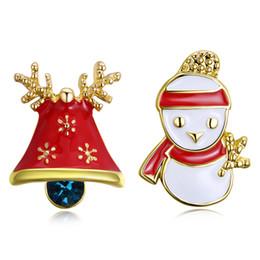 beautiful earrings girls 2019 - Christmas Deer Snowman Earrings Yellow Gold Plated Rose Gold Beautiful Charm Girls Women Jewelry Free Shipping cheap bea
