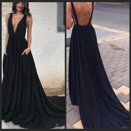 Black Evening Dresses For Ladies NZ - Dresses Evening Wear Back Deep V Neck Black Prom Dresses For Fat Ladies A Line Dress Party Evening With Pockets