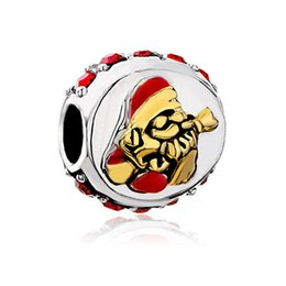 imitation pandora charm bracelets Canada - 5pcs per lot gold and rhodium plating Merry Christmas Charm Santa Bead Fits Pandora European Bracelet