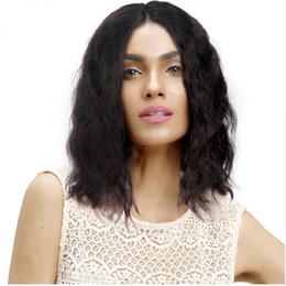 Human Hair Wig Beautiful UK - beautiful black short cut bob curl wigs simulation human hair short bob style curly full wig in stock