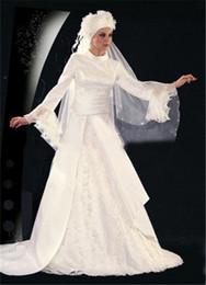 $enCountryForm.capitalKeyWord Canada - Wedding Dress Slim Elegant Sweet Off the Shoulder Mesh Formal Dress Hijab Veil Long Sleeve Muslim Ivory Fashion Embroidery Bridals Ball Gown