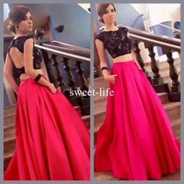 Backless Scoop Prom Dresses Canada - Sexy Backless Two Pieces 2017 A line Prom Dresses Scoop sleeveless Black Lace Appliques Appliques Red Satin Floor-length dress evening wear