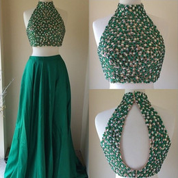 Barato Vestidos Esmeralda Verde Pageant-Verde esmeralda Dois Vestidos de baile Pieces 2015 Hot Sale gola alta frisada Sequins Top Curto Longo Evening Vestidos Pageant Party Dress Formal
