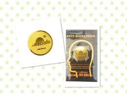 2015hot producto al por mayor fabricante de oro radisafe anti radiación etiqueta shiled radiación 99.8% 50 unidslote shiping libre en venta