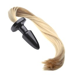 Chinese  Unisex Blondie Pony Tail Butt Plug, Fetish Animal Role Play Horse Anal Plug Tail, 50cm Long Silky Tail, Sex Toys, Sex Products manufacturers