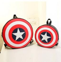 Newest desigN fashioN shoulder bags online shopping - Newest Design Women Men Fashion Backpack Round PU Leather girls Travelling Bag Captain America Rucksack Bag for kids