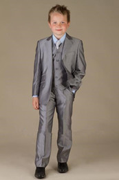 Gray Suit Champagne Tie Canada - hot sliver gray page boy suit Boy Wedding Suit Boys' Formal Occasion Attire Custom made suit tuxedo(jacket+pants+vest+tie)
